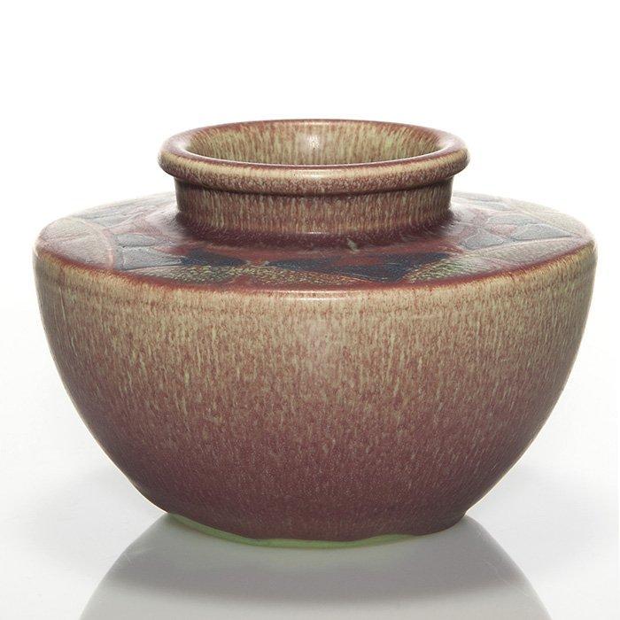 """Rookwood Carved Mat vase, Hentschel, 1913, 4 7/8"""""""