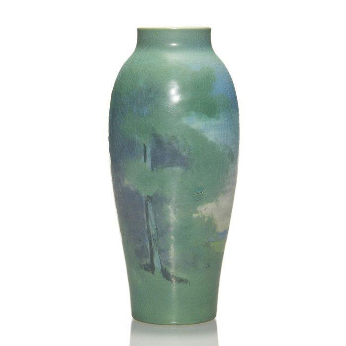 """Rookwood Vellum scenic vase, Caven, 1917, 8"""""""