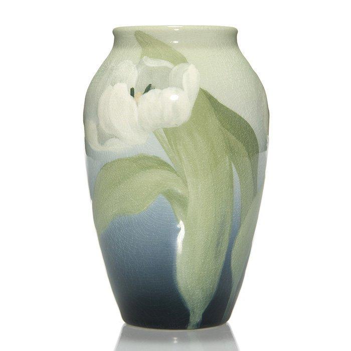 "Rookwood Iris vase, Lindeman, 1904, 913 D, 6 3/4"""