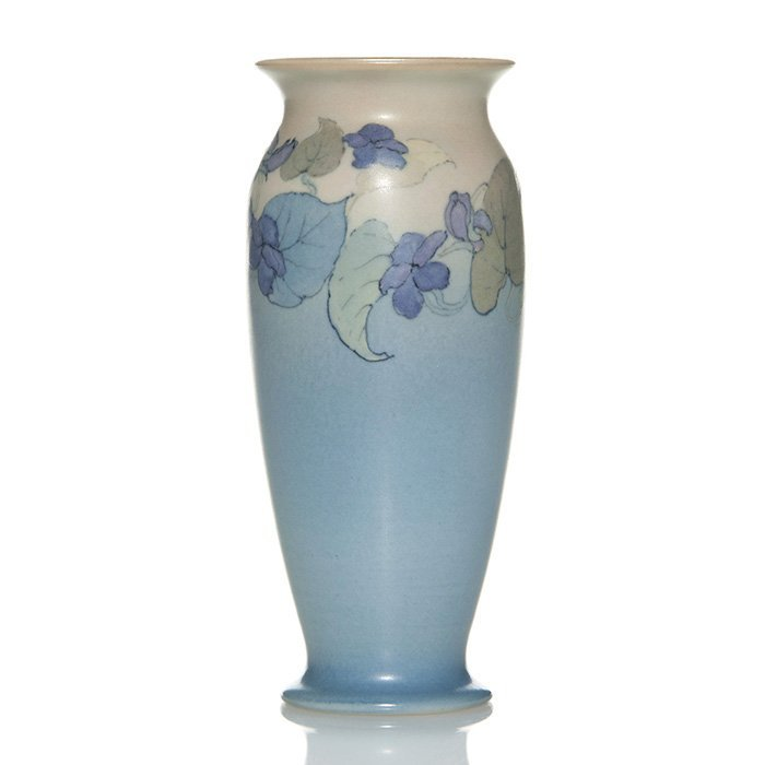 """Rookwood vellum vase, violets, Rothenbusch, 6 1/8"""""""