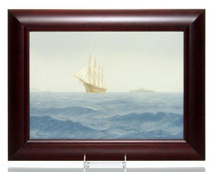 "Rare Rookwood Iris plaque, ships, Laurence, 10x14"""
