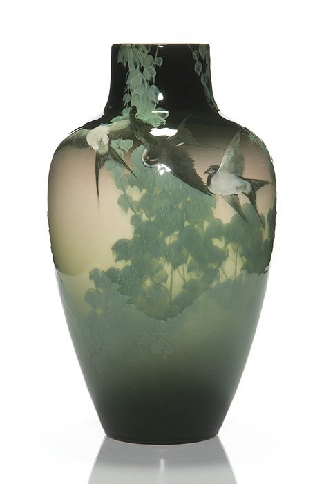 "Rookwood Black Iris vase, swallows, ivy, KS, 14 3/4"""