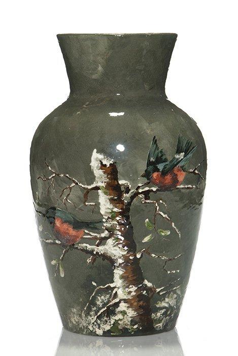 Rookwood Limoges vase, birds in tree, ARV, 1882, 13