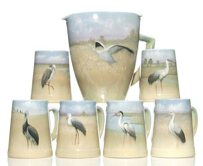 Rookwood 6 mugs, pitcher, cranes, Schmidt, '02