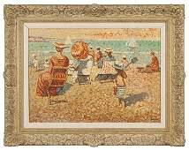 "Yvonne Canu pointillist O/B, beach scene, 18x24"""