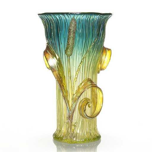 Loetz Texas Vase Applied Cattails 8 12