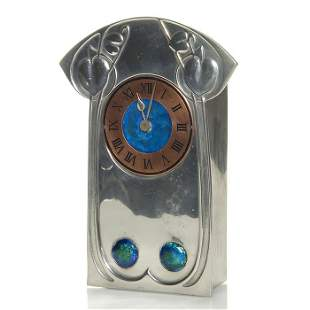 "Liberty Tudric clock, enamel, brass dial, 8"""