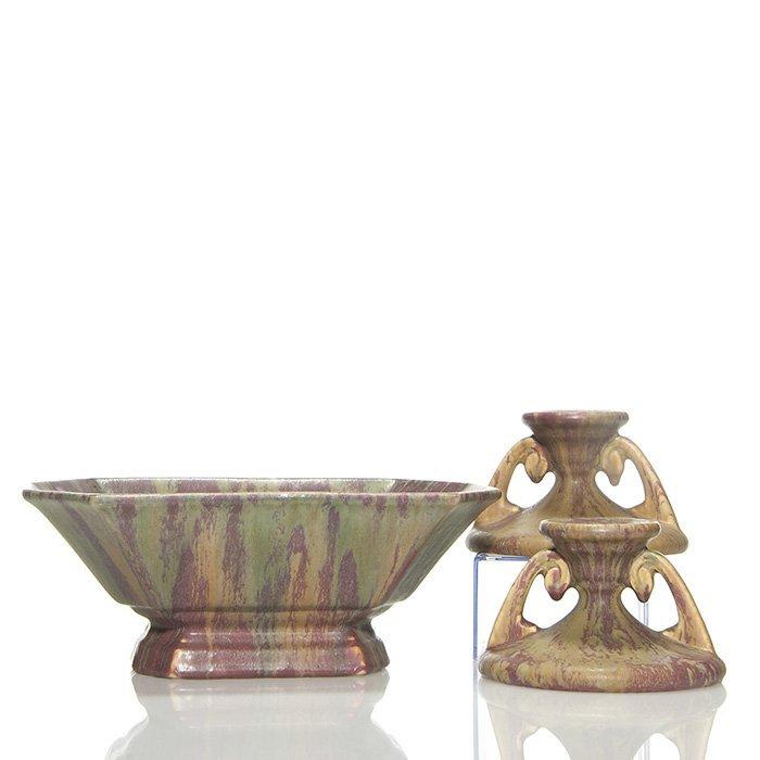 "Roseville Carnelian II bowl and candlesticks, 3 3/4"""