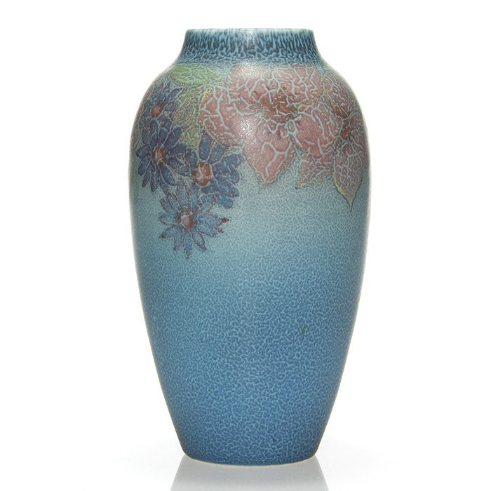 Good Rookwood Mat vase,Workum,'27, floral,8 1/2""