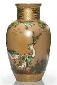 "Rookwood vase, Nichols, ducks, frogs, 1882, 20"""