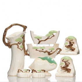 8 Roseville Ming Tree: Basket, Bookends, Candleholder