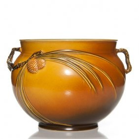 Roseville Brown Pine Cone Jardiniere, Shape 632-9""