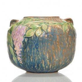 """Rosevile Wisteria Round Vase, 5"""", Blue, Shape 632"""