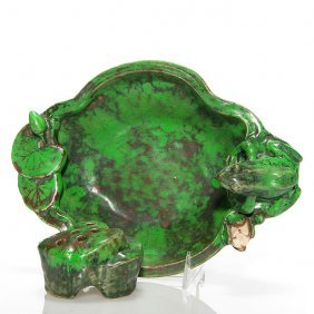 Weller Coppertone Frog Bowl With Rock And Frog, 3,