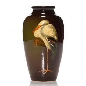 """Weller Louwelsa Vase, Stork, 7 7/8"""""""