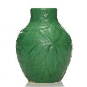 """Weller Matt Green Vase, Molded Leaves, 6 1/2"""""""