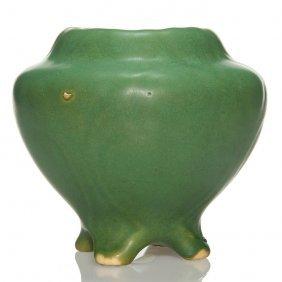 """Radford Radura Mat Green 4 Footed Vase, 5"""", Marked"""