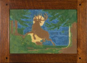 """Large Owens Stag & Moon Tile, 17 7/8""""x12"""""""