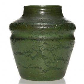 "Good Wheatley Green Mat Vase, Paper Label, 8 3/8"""