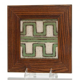 "Pair Grueby Tiles, Greek Key, 6""x6"", Wood Frame"