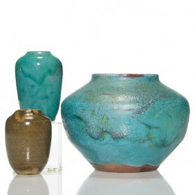 """3 Jugtown Ware Assorted Vases, Largest 5 1/4"""""""