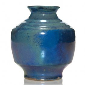 """Pewabic Luster Glaze Vase, Blues, 5 1/2"""""""