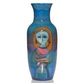 "Tall Pillin Vase, Woman, Bird, Jockey And Horse, 12"""