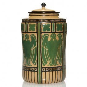 "Lenox Belleek Covered Jar, Falcons, 9 5/8"""