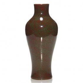 """Early Sevres Porcelain Vase, 10 3/8"""", Green/red Glaze"""