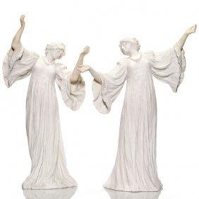 """2 Sevres Porcelain Loie Fuller Figurals, 18 1/2"""""""