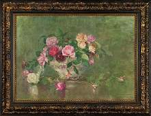 "Constance Walton W/C, Roses, ca 1900, 20""x28"""