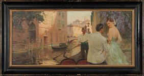 "Tom Lovell O/b Venice, 14""x30"""