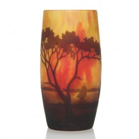 "Daum Nancy Cameo Scenic Vase, 4 3/4"", Signed"