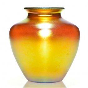 "Steuben Gold Aurene Classic Vase, 8"" Signed"