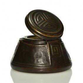 "Tiffany ""modeled Design"" Bronze Inkwell, 3"", 1112"