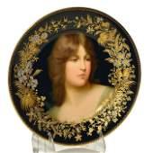 """Royal Vienna portrait plate, Maiden, Görner, 9 1/2"""""""