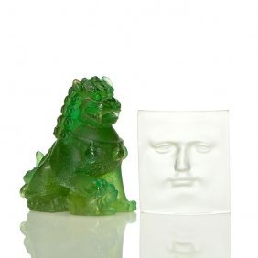 "2 Daum:pate-de-verre Foo Dog + Frosted ""face"", Sig"