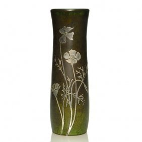"Heintz Art Metal Shop Vase, Sterling Overlay, 10 1/2"""