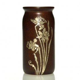"""Heintz Art Metal Shop Bronze Vase,sterling Overlay,6"""""""