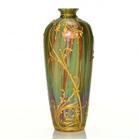 "Graff Harrach ""jaspis"" Vase, 8"", Jan Koula"