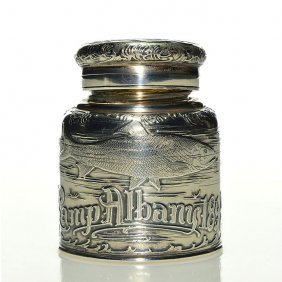 Tiffany & Co Sterling Inkwell, Camp Albany, 1894