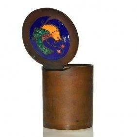 "Arts & Crafts Copper Box, Enameled Bird, 3 1/2"""