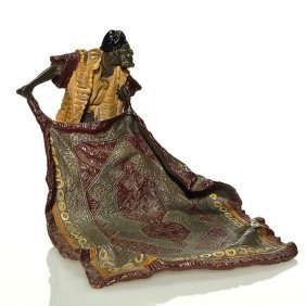 "Contemporary Rug Dealer Bronze Figural, 6 1/2"""