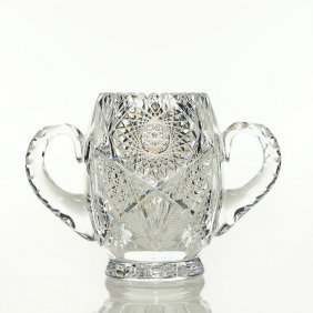 "Brilliant Cut Glass Handled Vase, 6 1/2"" X 9 1/4"""