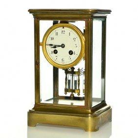 "Tiffany&co, France Mantle Clock, 10 1/2"", Brass,glass"