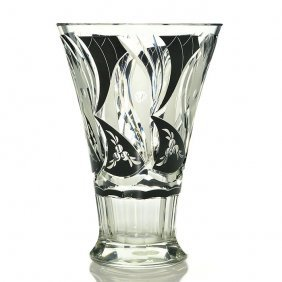 "Czech Vase, Black Enameled, Frosted, Cut, 8 1/2"""