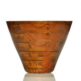 """Peter Petrochko Laminated Oval Wooden Bowl, 8 1/8"""""""