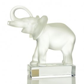 "Lalique ""good Luck"" Elephant, Frosted, 6"", Signed"
