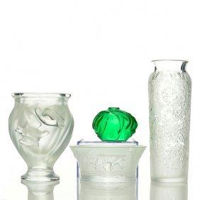 4 Lalique: Cylinder Vase, Leopard Bowl, 2 Dove Vase,