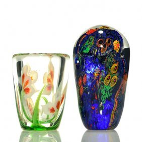 2 Items. Orient & Flume Vase, Lindsay Paperweight